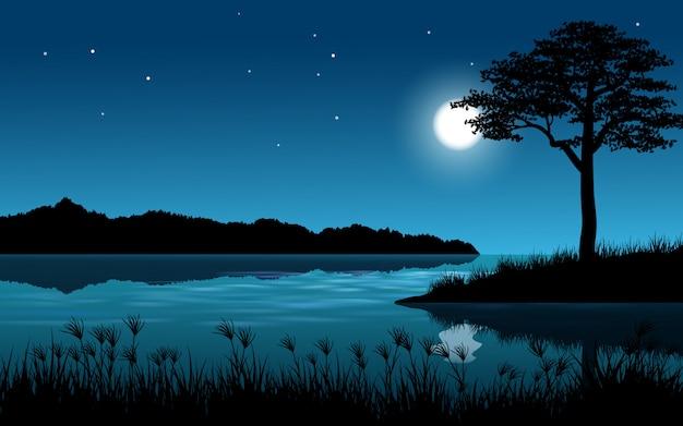 Paisaje nocturno de río y árbol
