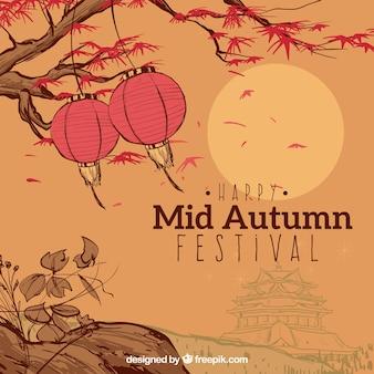Paisaje otoñal, festival del medio otoño