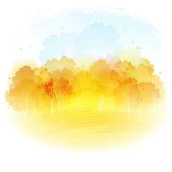 Paisaje de otoño acuarela.