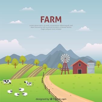 Paisaje pacífico de una granja
