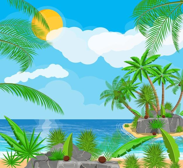 Paisaje de palmera en la playa