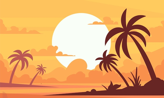 Paisaje de palmeras, puesta de sol en la playa de la isla paradisíaca