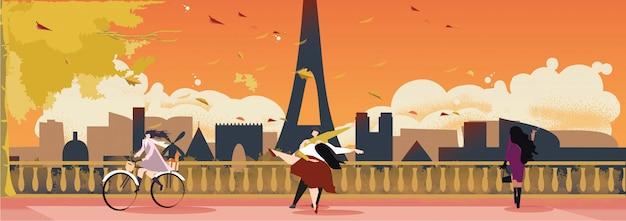 Paisaje panorámico de parís francia a mediados de otoño u otoño.
