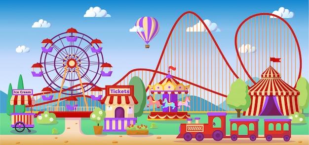 Paisaje panorámico del parque de atracciones, montaña rusa, carrusel, noria