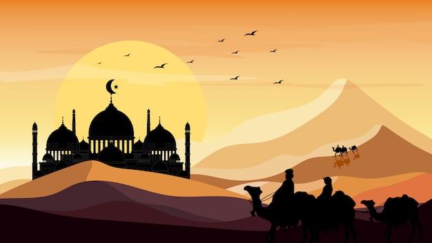 Paisaje panorámico del viaje árabe con camellos a través del desierto con silueta de mezquita y fondo de puesta de sol