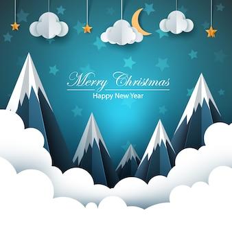 Paisaje de papel de dibujos animados. feliz navidad. feliz año nuevo.