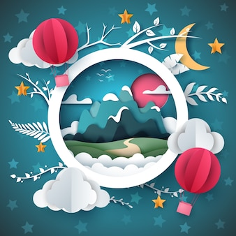Paisaje de papel de dibujos animados. montaña, globo de airemcloud, estrella, ilustración de rama