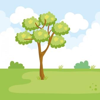 Paisaje del parque con escena de árbol