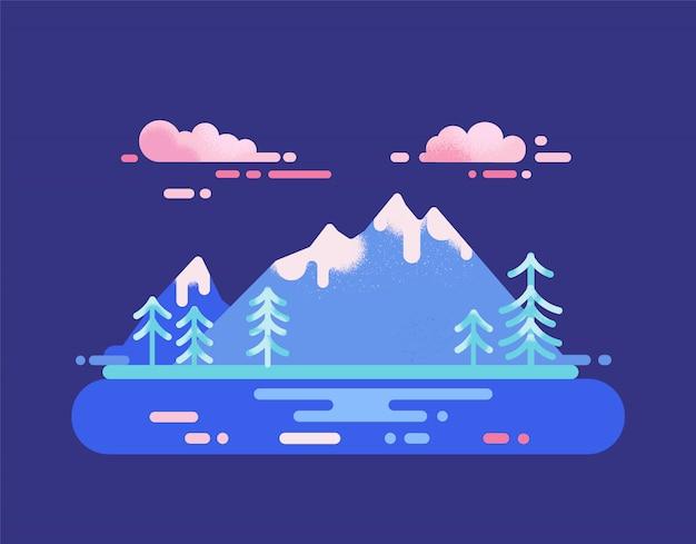 Paisaje del parque nacional. concepto de destino de viaje de cordillera y lago. ilustración de vector con naturaleza salvaje