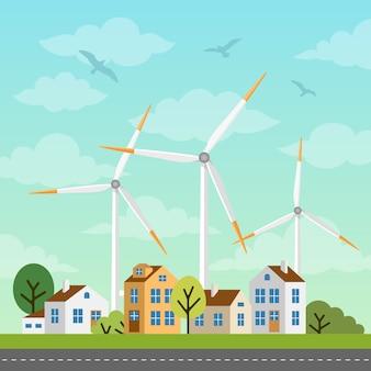 Paisaje con pequeñas casas y molinos de viento.