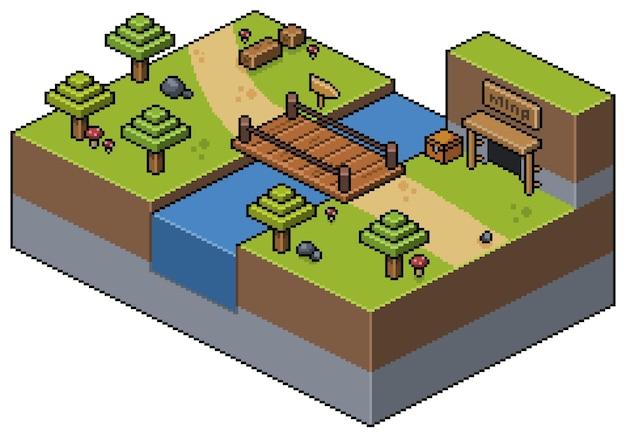 Paisaje de pixel art isométrico, con puente, árboles, césped, río, escenario de juego de bits