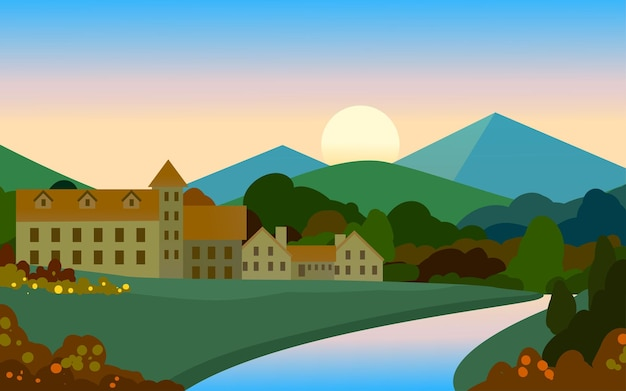 Paisaje plano de campo con río y montaña.
