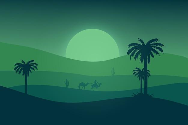 Paisaje plano el desierto es verde en una hermosa noche