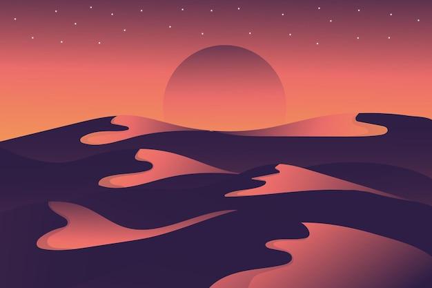 Paisaje plano hermoso desierto en la noche luz roja brillante