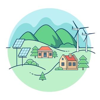 Paisaje plano lineal. casa con montañas y árboles. plantas de energía solar y eólica
