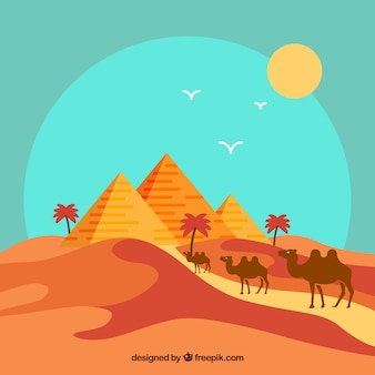 Paisaje plano con piramides de egipto y caravana de camellos