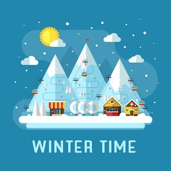 Paisaje plano de vacaciones de invierno. escena del concepto de la estación de esquí de montaña.