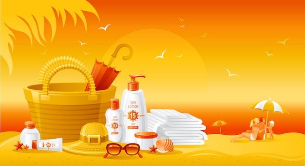 Paisaje de playa al atardecer con botellas de crema de protección solar. anuncio de verano del producto uv protector solar. loción cosmética para el cuidado de la piel. fondo plano estilo de vida saludable.