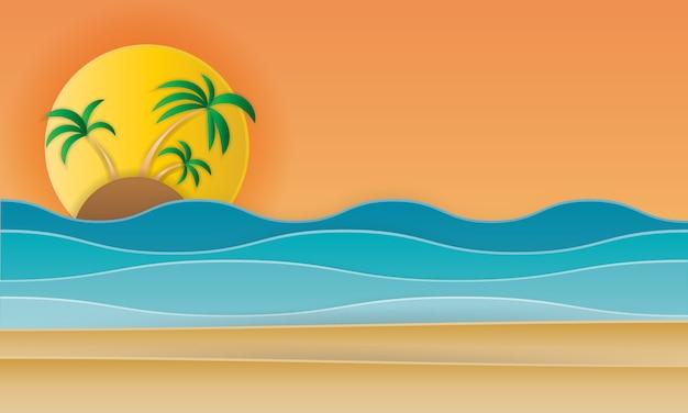 Paisaje de playa con beac