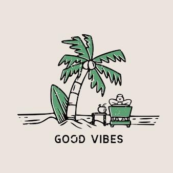 Paisaje de playa de buen rollo con tabla de surf y palmeras dibujadas a mano ilustración