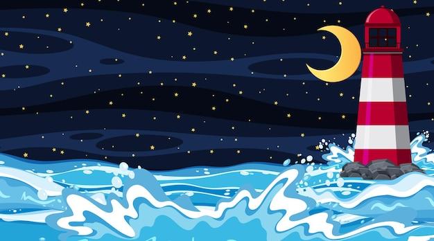 Paisaje de playa en escena nocturna.