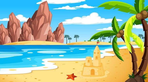 Paisaje de playa tropical en escena diurna.