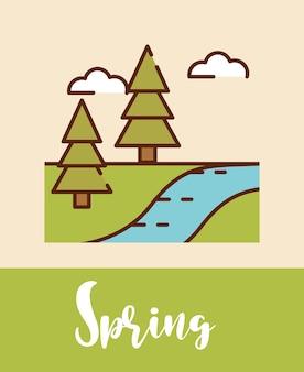 Paisaje de primavera árboles bosque río dibujos animados, línea llena ilustración vectorial plana