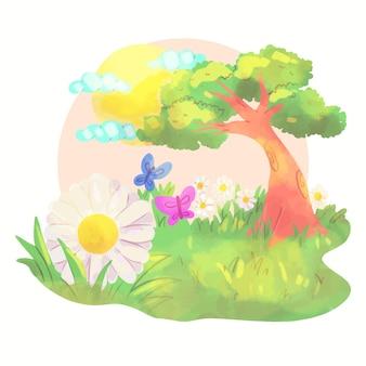 Paisaje de primavera con árboles y mariposas