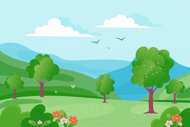 Paisaje de primavera con árboles y pájaros en el cielo
