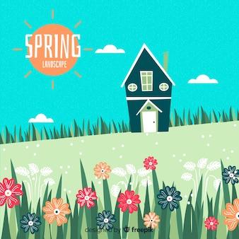 Paisaje primavera campo dibujado a mano