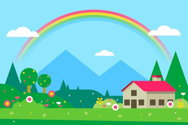 Paisaje de primavera con casa y arcoiris