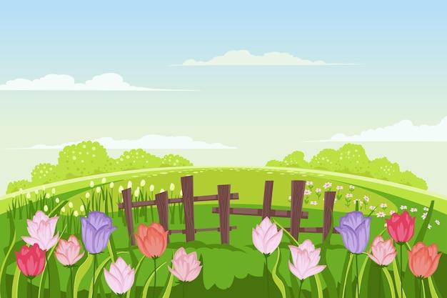 Paisaje de primavera creativo dibujado a mano