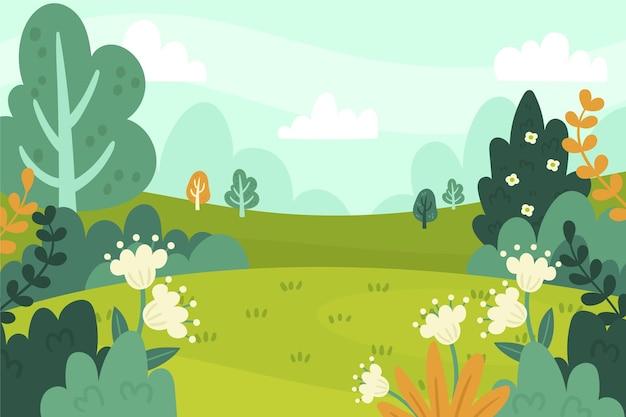 Paisaje de primavera dibujado a mano