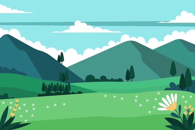 Paisaje de primavera de diseño plano ilustrado