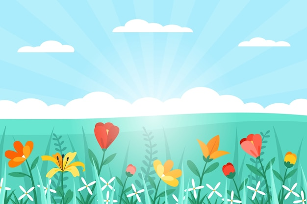 Paisaje de primavera de diseño plano