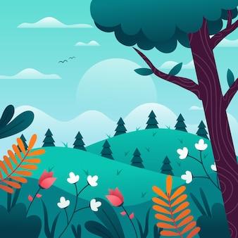 Paisaje de primavera con flores y árboles.