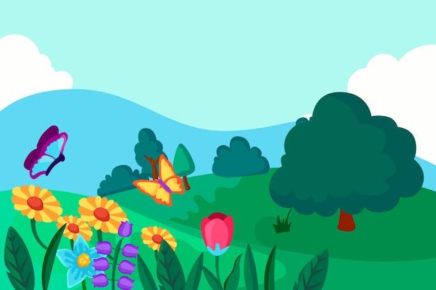 Paisaje de primavera con flores y mariposas
