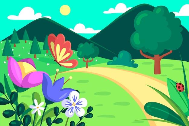 Paisaje de primavera con mariposas y flores