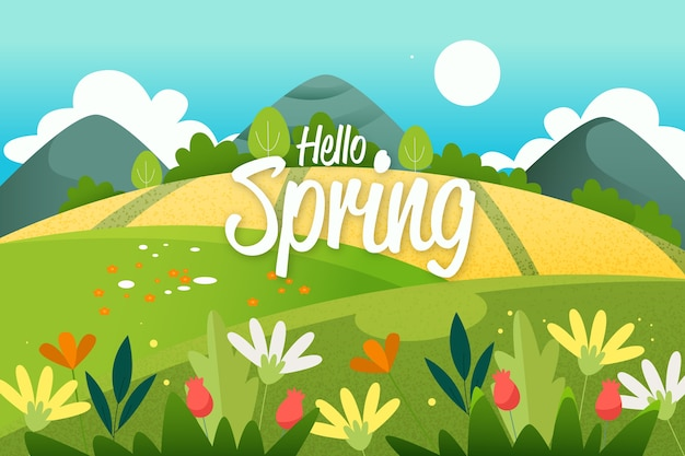 Paisaje de primavera plana colorido con letras