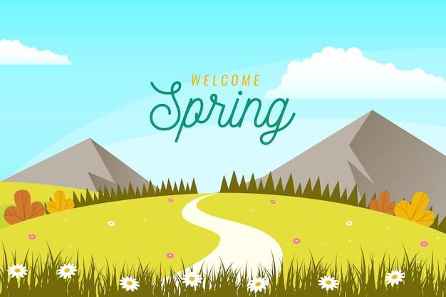 Paisaje de primavera plana