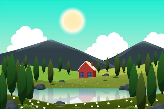 Paisaje primaveral con casa y lago.