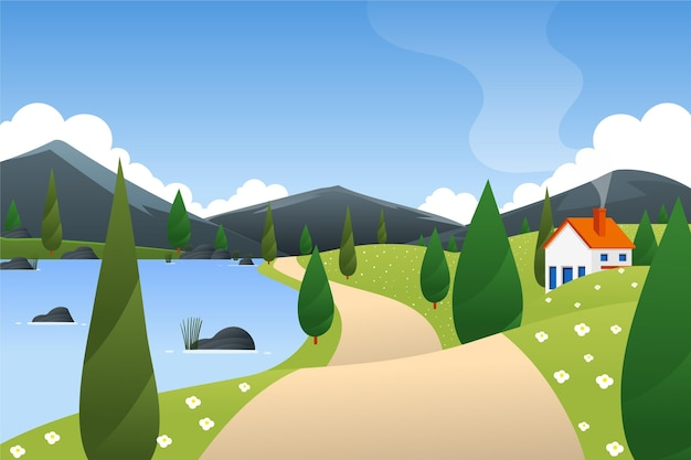 Paisaje primaveral con casa y montañas.