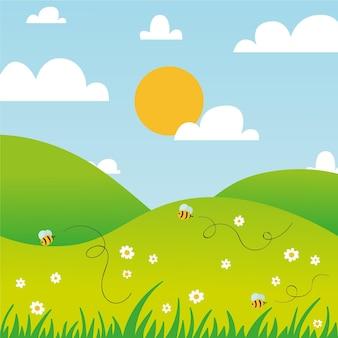Paisaje primaveral dibujado a mano con abejas y sol
