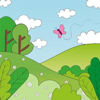 Paisaje primaveral dibujado a mano con naturaleza y mariposas