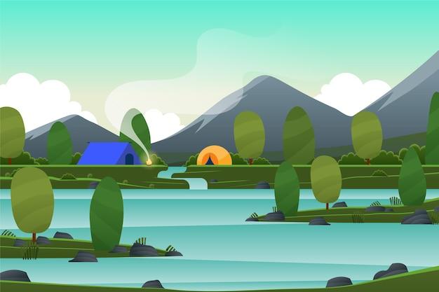 Paisaje primaveral con lago y tiendas de campaña.