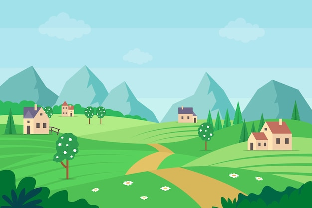 Paisaje primaveral con montañas y casas