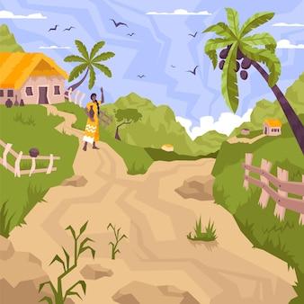 Paisaje de pueblo con árboles tropicales, mujer y camino.
