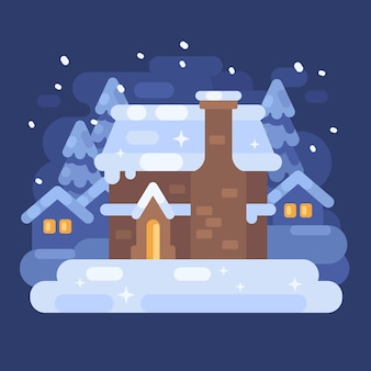 Paisaje de pueblo de invierno azul nevado con una casa