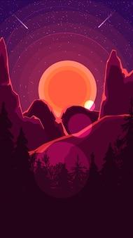 Paisaje con puesta de sol detrás de las montañas, bosque y cielo estrellado.