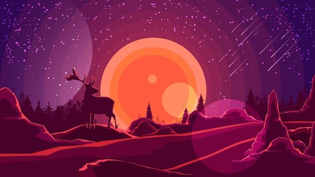 Paisaje con puesta de sol detrás de las montañas.